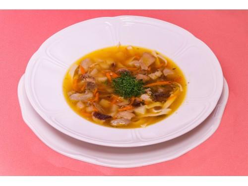 Суп с уткой и домашней лапшой и белыми грибами
